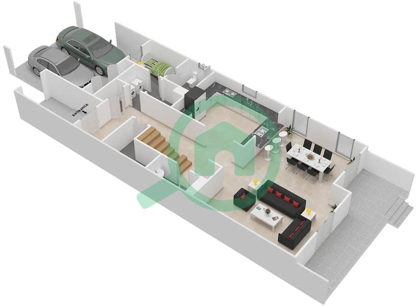 المخططات الطابقية لتصميم النموذج / الوحدة A/END UNIT تاون هاوس 3 غرف نوم - قرطاج Ground Floor image3D