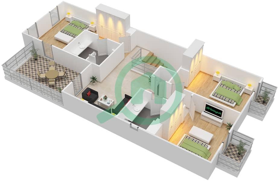 المخططات الطابقية لتصميم النموذج / الوحدة A/END UNIT تاون هاوس 3 غرف نوم - قرطاج First Floor image3D