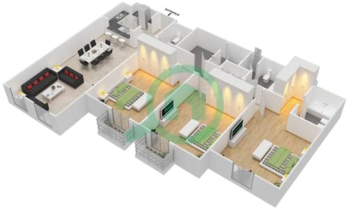 مساکن الفرجان - 3 غرف شقق اكتب A مخطط الطابق