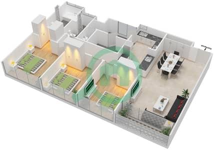 Avenue Residence - 3 Bedroom Apartment Type C2 Floor plan