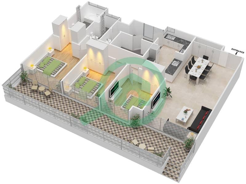 المخططات الطابقية لتصميم النموذج C1-P شقة 3 غرف نوم - افينيو ريزدنس Floor 1 image3D