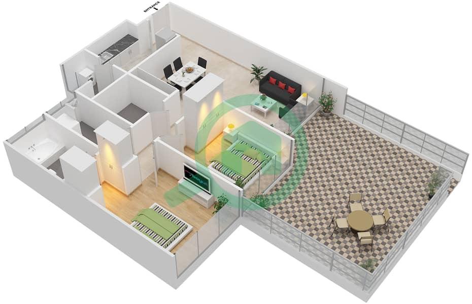 المخططات الطابقية لتصميم النموذج B1-P شقة 2 غرفة نوم - افينيو ريزدنس Floor 1 image3D