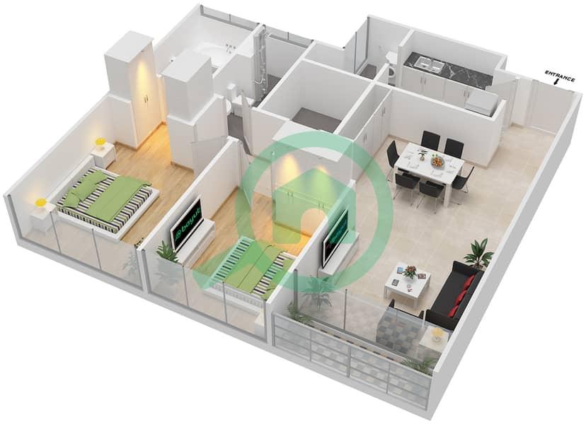 Avenue Residence - 2 Bedroom Apartment Type B1 Floor plan Floor 2-5 image3D