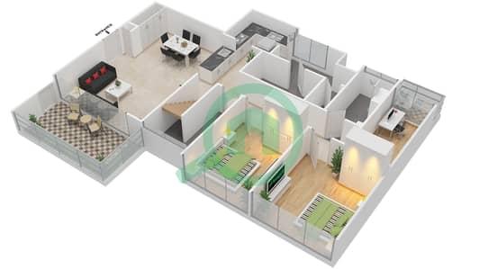 Avenue Residence - 3 Bedroom Apartment Type C5-T Floor plan