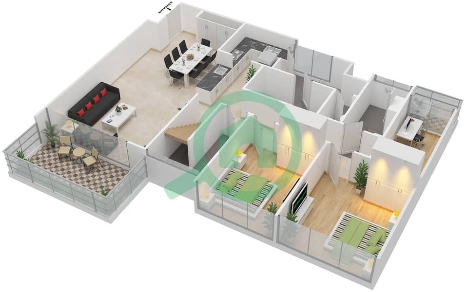 المخططات الطابقية لتصميم النموذج C6-T شقة 3 غرف نوم - افينيو ريزدنس Lower Floor image3D