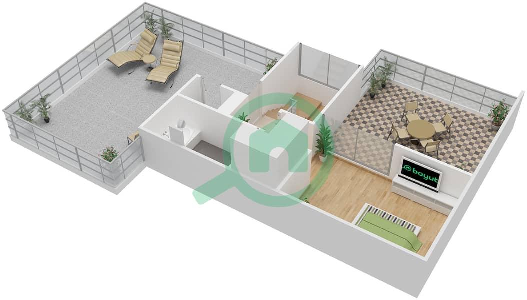 المخططات الطابقية لتصميم النموذج C6-T شقة 3 غرف نوم - افينيو ريزدنس Upper Floor image3D