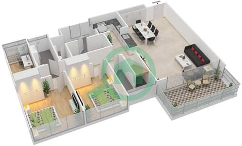 Avenue Residence - 3 Bedroom Apartment Type C7-T Floor plan