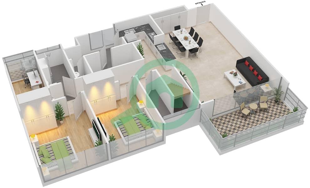 المخططات الطابقية لتصميم النموذج C7-T شقة 3 غرف نوم - افينيو ريزدنس Lower Floor image3D