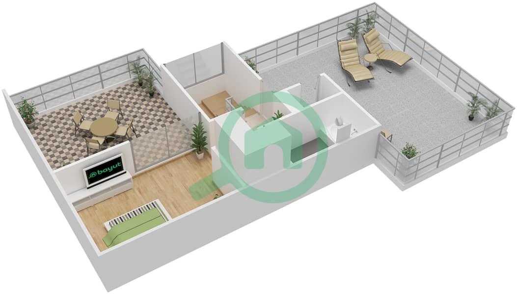 المخططات الطابقية لتصميم النموذج C7-T شقة 3 غرف نوم - افينيو ريزدنس Upper Floor image3D