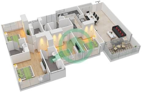 Avenue Residence - 4 Bedroom Apartment Type D1 Floor plan