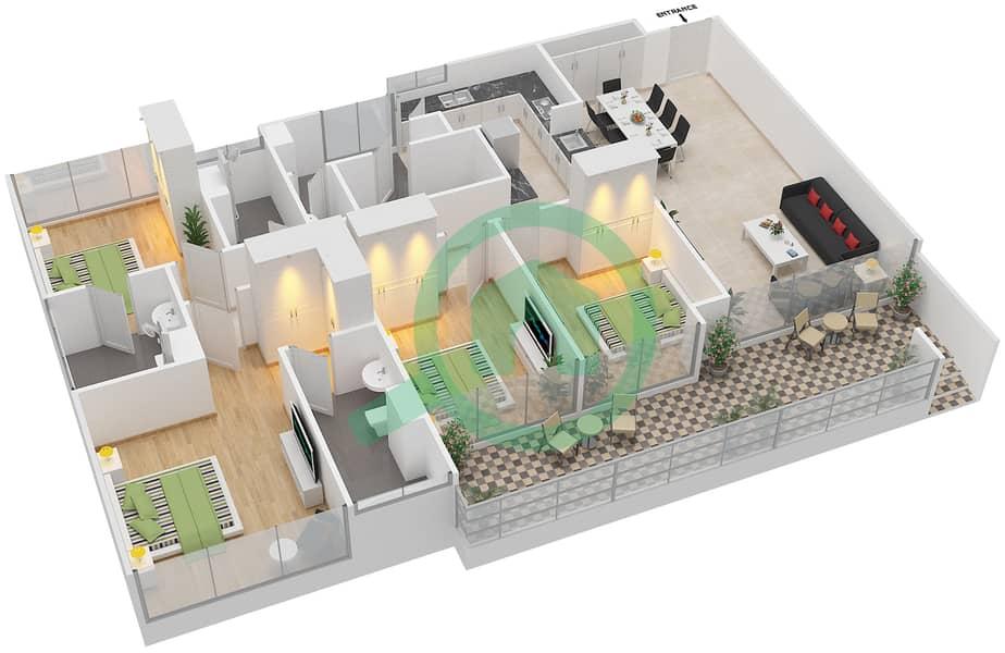 المخططات الطابقية لتصميم النموذج D1-P شقة 4 غرف نوم - افينيو ريزدنس Floor 1 image3D