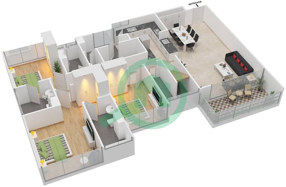 المخططات الطابقية لتصميم النموذج D1-T شقة 4 غرف نوم - افينيو ريزدنس Lower Floor image3D