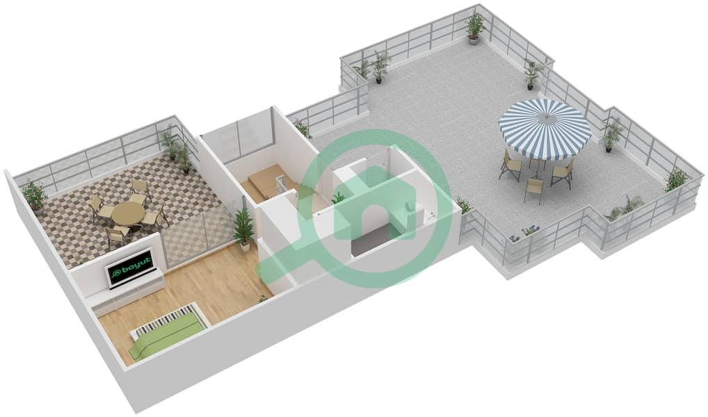 المخططات الطابقية لتصميم النموذج D1-T شقة 4 غرف نوم - افينيو ريزدنس Upper Floor image3D