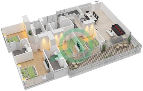 Avenue Residence - 4 Bedroom Apartment Type D2-P Floor plan