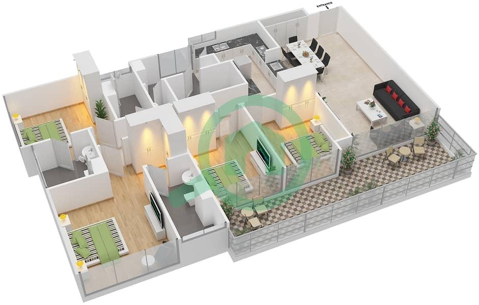 المخططات الطابقية لتصميم النموذج D2-P شقة 4 غرف نوم - افينيو ريزدنس Floor 1 image3D