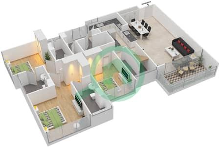 Avenue Residence - 4 Bedroom Apartment Type D2-T Floor plan