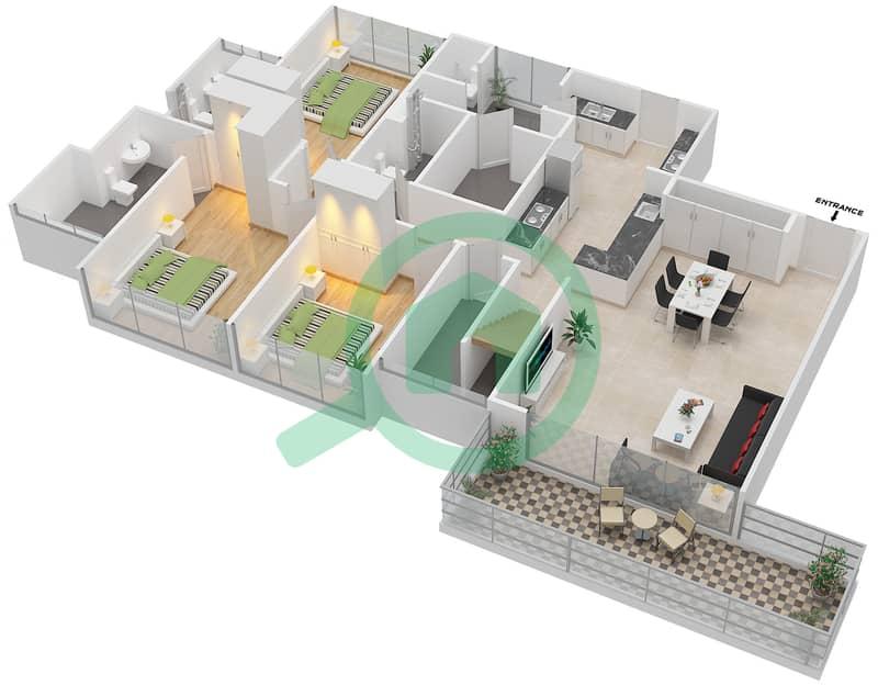 المخططات الطابقية لتصميم النموذج D3-T شقة 4 غرف نوم - افينيو ريزدنس Lower Floor image3D