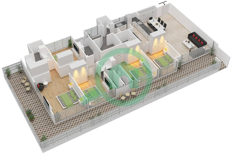 المخططات الطابقية لتصميم النموذج E1-P شقة 5 غرف نوم - افينيو ريزدنس Floor 1 image3D