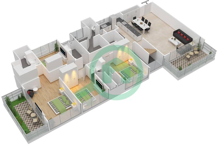 المخططات الطابقية لتصميم النموذج E1-T شقة 5 غرف نوم - افينيو ريزدنس Lower Floor image3D