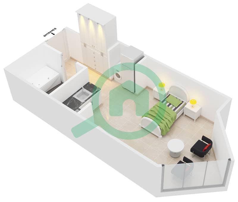 Montrell by Azizi - Studio Apartment Type/unit TD/09 Floor plan image3D