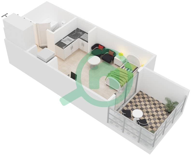 Montrell by Azizi - Studio Apartment Type/unit TB/07,26 Floor plan image3D