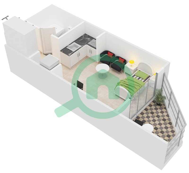 Montrell by Azizi - Studio Apartment Type/unit PC/08,25 Floor plan image3D