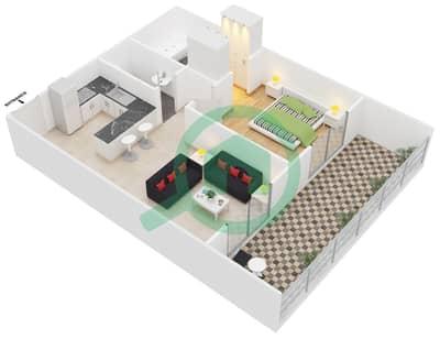 المخططات الطابقية لتصميم النموذج / الوحدة P1A/01,32 شقة 1 غرفة نوم - مونتريل من عزيزي