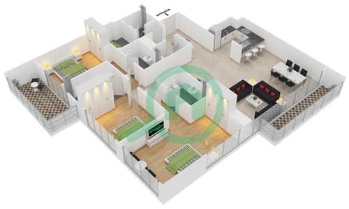 المخططات الطابقية لتصميم الوحدة 8,9 شقة 3 غرف نوم - افينيو ريزدنس 2
