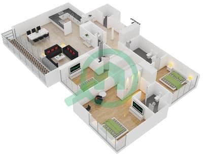 المخططات الطابقية لتصميم الوحدة 1 شقة 3 غرف نوم - افينيو ريزدنس 2