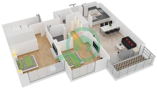 المخططات الطابقية لتصميم الوحدة 10 شقة 2 غرفة نوم - افينيو ريزدنس 2