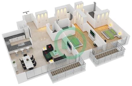 المخططات الطابقية لتصميم الوحدة 7 شقة 2 غرفة نوم - افينيو ريزدنس 2