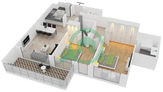 المخططات الطابقية لتصميم الوحدة 6 شقة 2 غرفة نوم - افينيو ريزدنس 2