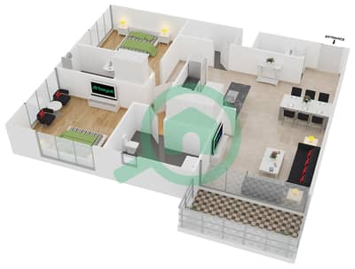 المخططات الطابقية لتصميم الوحدة 5 شقة 2 غرفة نوم - افينيو ريزدنس 2