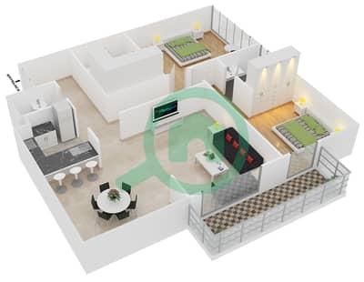 المخططات الطابقية لتصميم الوحدة 4 شقة 2 غرفة نوم - افينيو ريزدنس 2