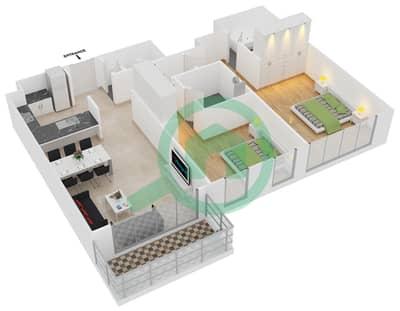 المخططات الطابقية لتصميم الوحدة 2 شقة 2 غرفة نوم - افينيو ريزدنس 2