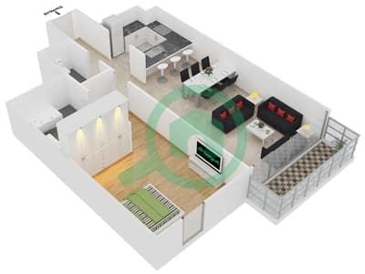 المخططات الطابقية لتصميم الوحدة 8 شقة 1 غرفة نوم - افينيو ريزدنس 2