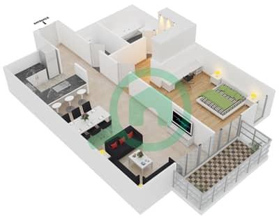 المخططات الطابقية لتصميم الوحدة 7 شقة 1 غرفة نوم - افينيو ريزدنس 2