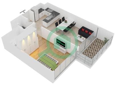 المخططات الطابقية لتصميم الوحدة 3 شقة 1 غرفة نوم - افينيو ريزدنس 2
