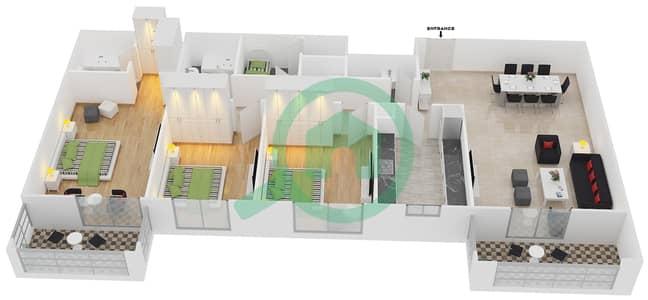 المخططات الطابقية لتصميم النموذج / الوحدة 1B/09 شقة 3 غرف نوم - عزيزي لياتريس