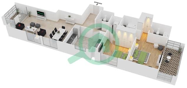 المخططات الطابقية لتصميم النموذج / الوحدة 5B/13 شقة 2 غرفة نوم - عزيزي لياتريس