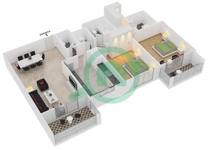 المخططات الطابقية لتصميم النموذج / الوحدة 8B /11 شقة 2 غرفة نوم - عزيزي لياتريس
