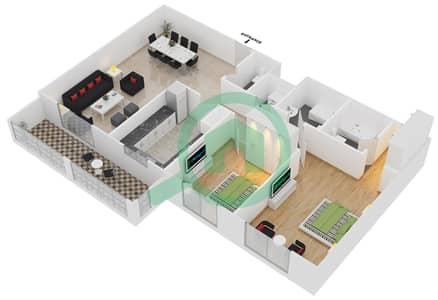 المخططات الطابقية لتصميم النموذج / الوحدة 2B/10 شقة 2 غرفة نوم - عزيزي لياتريس