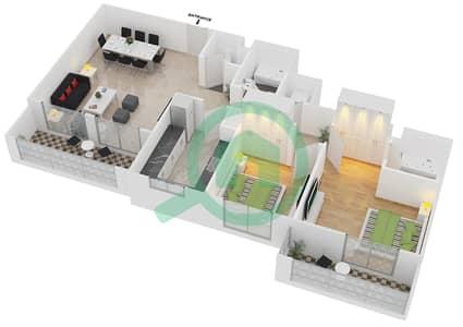 المخططات الطابقية لتصميم النموذج / الوحدة 3B/04 شقة 2 غرفة نوم - عزيزي لياتريس