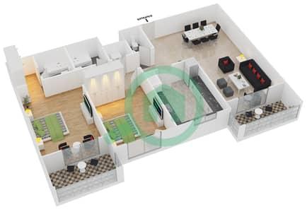 المخططات الطابقية لتصميم النموذج / الوحدة 2B/03 شقة 2 غرفة نوم - عزيزي لياتريس