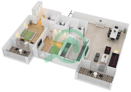 المخططات الطابقية لتصميم النموذج / الوحدة 1B/02 شقة 2 غرفة نوم - عزيزي لياتريس