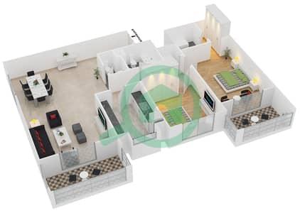 المخططات الطابقية لتصميم النموذج / الوحدة 1B/01 شقة 2 غرفة نوم - عزيزي لياتريس