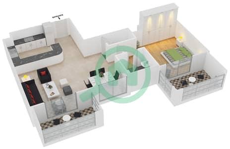 المخططات الطابقية لتصميم النموذج / الوحدة 2A /11 شقة 1 غرفة نوم - عزيزي لياتريس