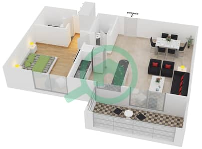 المخططات الطابقية لتصميم النموذج / الوحدة 1B/06 شقة 1 غرفة نوم - عزيزي لياتريس