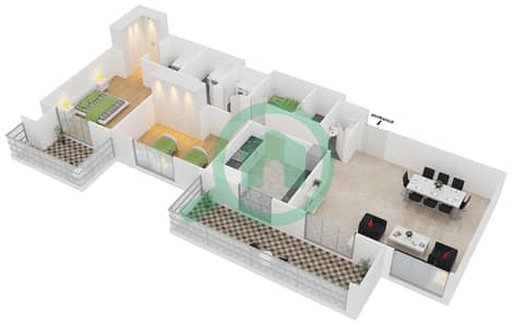 Azizi Orchid - 2 Beds Apartments type/unit 7B/10 Floor plan