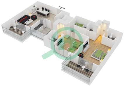Azizi Orchid - 2 Beds Apartments type/unit 4B/4 Floor plan